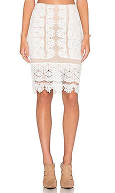 Endless Rose Lace Overlay Skirt in Off White & Nude