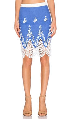Endless Rose Embroidered Crochet Skirt in Dusty Blue