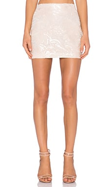 Endless Rose Sequin Floral Skirt in Nude Peach