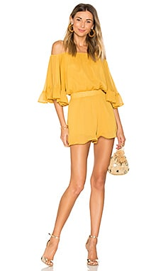Ruffled Sleeve Romper in Honey Yellow