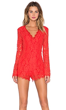 Endless Rose Lace Romper in Orange