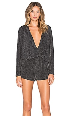 Endless Rose Shimmer Wrap Romper in Silver