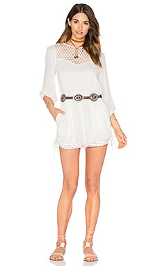 Woven Long Sleeve Romper in Off White