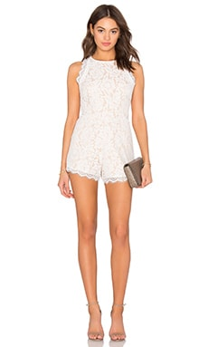 Woven Lace Romper in Off White & Nude