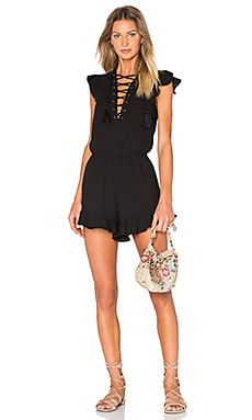 Endless Rose Lace Up Ruffle Romper in Black