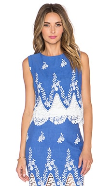 Endless Rose Embroidered Crochet Top in Dusty Blue