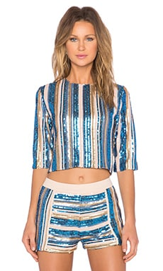 Endless Rose Sequin Top in Blue Combo