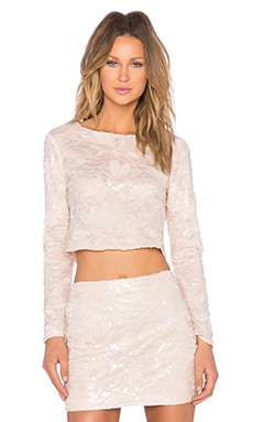 Endless Rose Sequin Floral Top in Nude Peach
