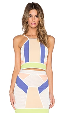 Endless Rose Colorblock Contrast Top in White Combo