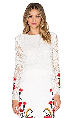 Endless Rose Floral Embroidered Crop Top in Off White