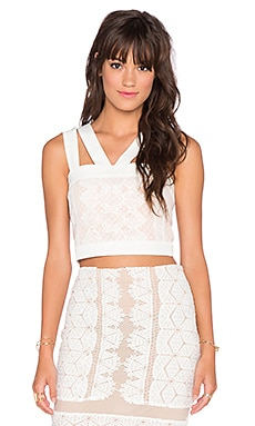Endless Rose Lace Overlay Crop Top in Off White & Nude