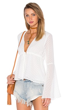 Woven Long Sleeve V Neck Blouse en Blanc