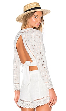 Endless Rose Open Back Crop Top in White