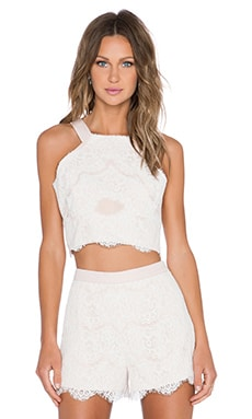 Endless Rose High Neck Lace Crop Top in Nude