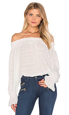 Long Sleeve Off The Shoulder Top in Off White