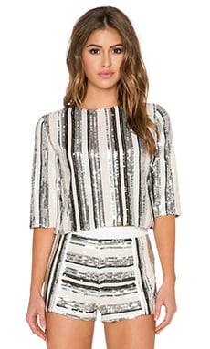 Endless Rose Embellished Striped Crop Top in Silver Combo