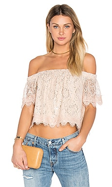Off The Shoulder Lace Top in Blush Pink & Silver