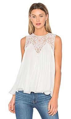 Lace Detail Pleated Top in Off White