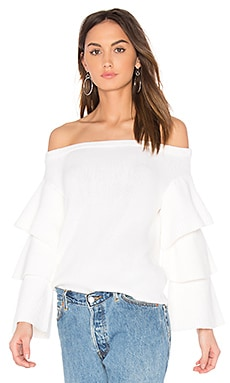 Off the Shoulder Sweater Top in Ivory