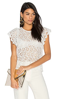 Ruffled Sleeve Top in Off White