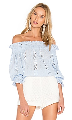 Off The Shoulder Top in Blassblau