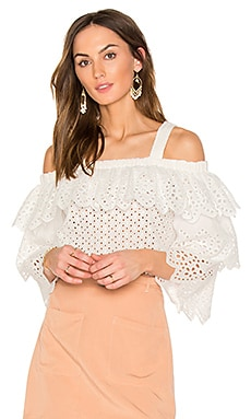Cold Shoulder Top With Tiered Sleeves in Off White