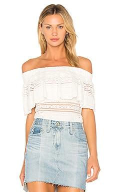 Ruffle Overlay Off The Shoulder Top