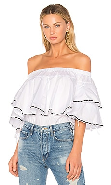 Ruffle Trim Off Shoulder Top