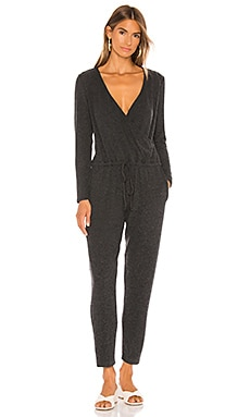 Peached Jersey Wrap Front Jumpsuit Enza Costa $224