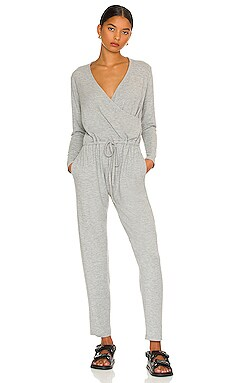 Peached Jersey Wrap Front Jumpsuit Enza Costa $225
