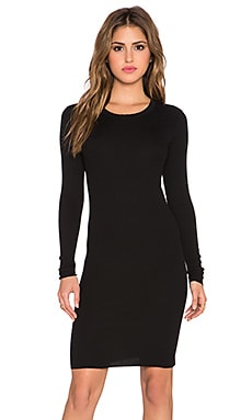 Enza Costa Rib Long Sleeve Mini Dress in Black