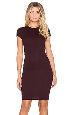 Enza Costa Rib Cap Sleeve Mini Dress in Dark Burgundy