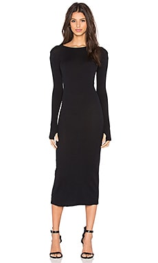 Cashmere Long Sleeve Crew Neck Dress in Black