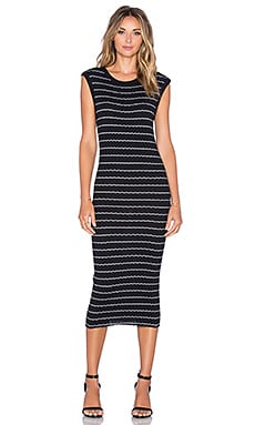 Enza Costa Cashmere Muscle Tank Midi Dress in Black and White