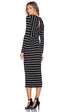 Enza Costa Rib Long Sleeve Twist Back Dress in Black and White