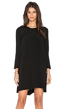 Enza Costa Long Sleeve Trapeze Dress in Black