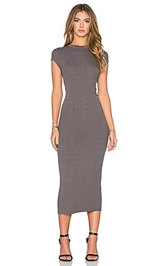 Enza Costa Rib Cap Sleeve Dress in Flint