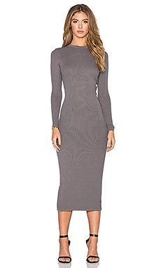 Enza Costa Rib Long Sleeve Twist Back Dress in Flint