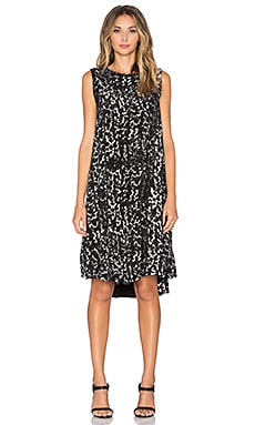 Enza Costa Sleeveless Trapeze Dress in Chalk Print