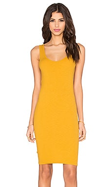 Enza Costa Rib Tank Mini Dress in Saffron