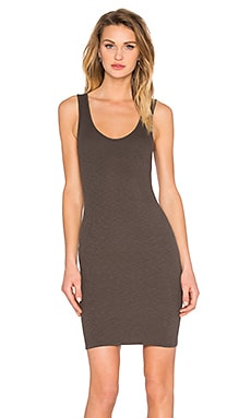 Enza Costa Rib Tank Mini Dress in Black Olive