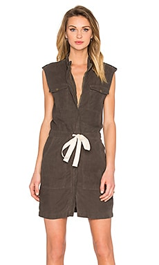 Enza Costa Sleeveless Utility Dress in Black Olive
