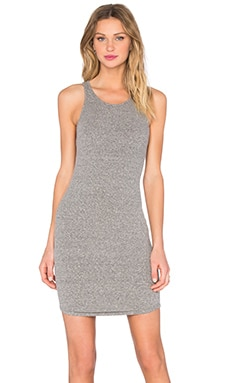 Enza Costa Rib Sheath Tank Baseball Dress in Heather Grey