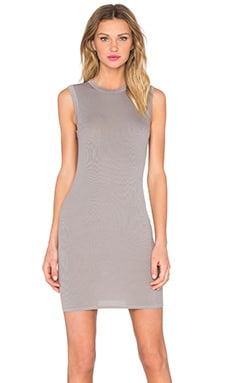 Enza Costa Rib Sleeveless Mini Dress in Stone