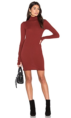 Enza Costa Cashmere Long Sleeve Turtleneck Dress in Russet