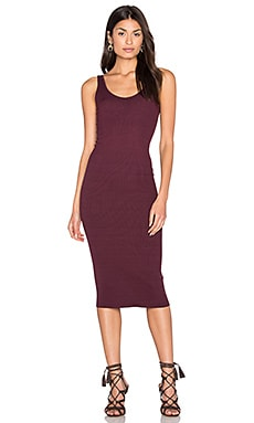 Silk Rib Tank Dress in Port