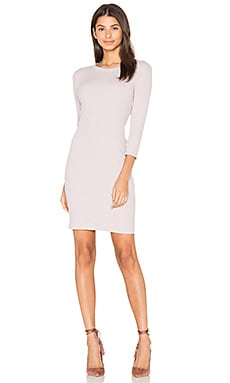 Rib 3/4 Sleeve Mini Dress en Pink Beige