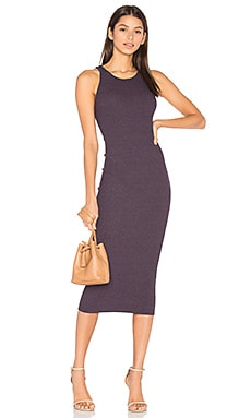 Rib Sheath Midi Dress en Night Shade