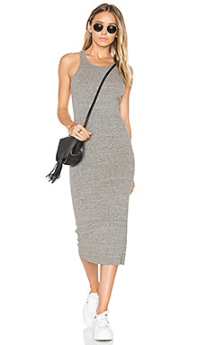 Rib Sheath Midi Dress en Gris Chiné