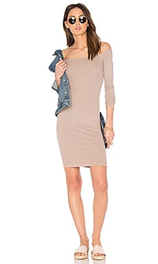 Rib Off Shoulder Mini Dress in Khaki